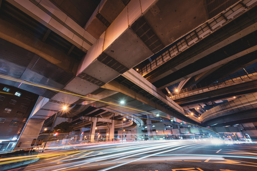 阿波座ジャンクションの夜景写真